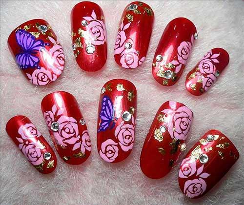 Праздничный маникюр роскошная роза